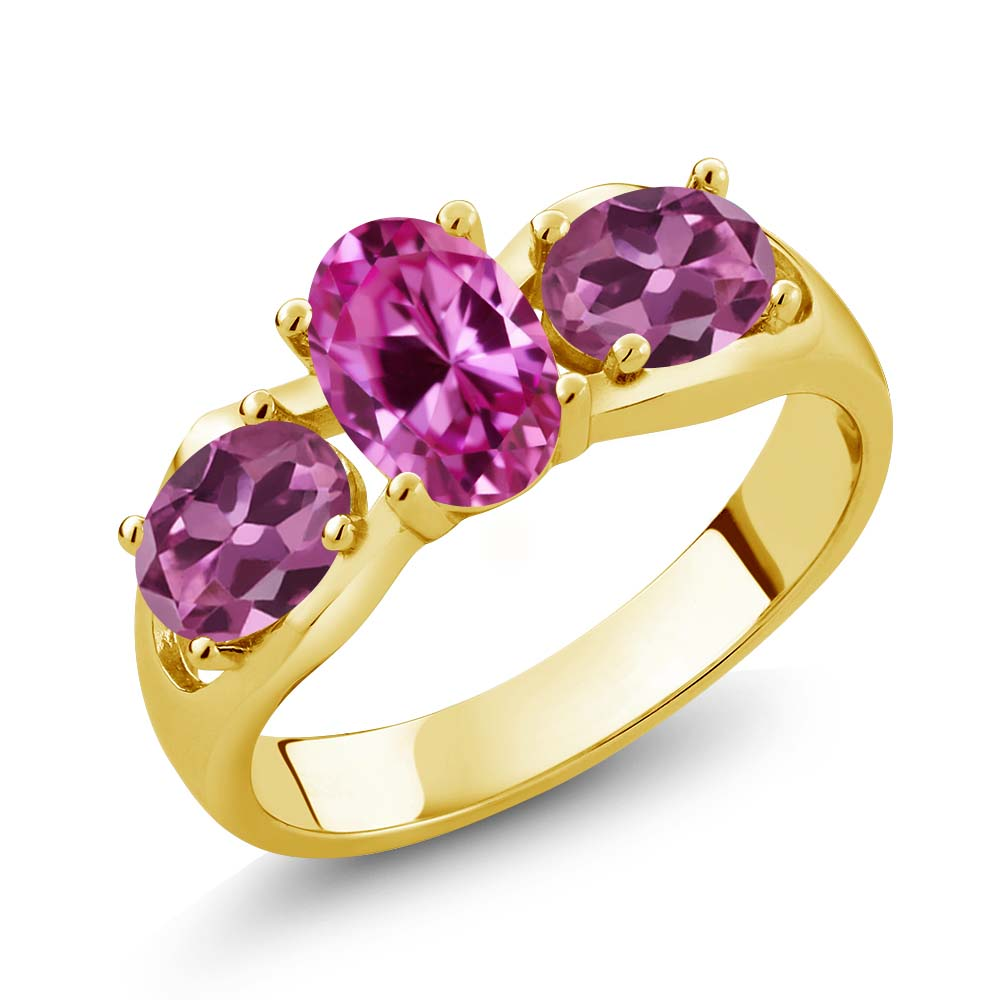 1.90 Ct Oval Pink Created Sapphire Pink Tourmaline 14K Yellow Gold Ring by