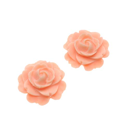 """Vintage Look Lucite Cabochon Bead """"Peach"""" Flower Rose 15mm (2)"""