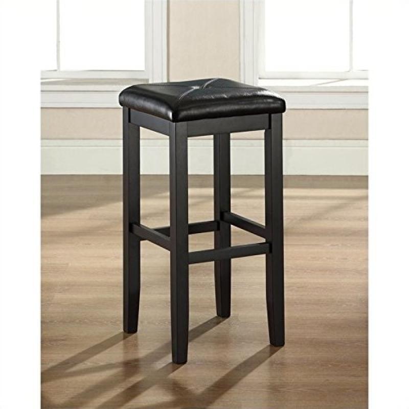 Crosley Furniture Upholstered Square Seat Bar Stool, Blac...
