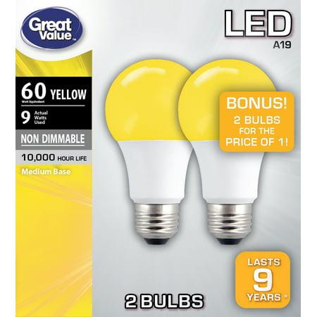 2 Amber Led (Great Value LED Light Bulb, 9W (60W Equivalent) A19 Lamp E26 Medium Base, Yellow, 2-Pack)