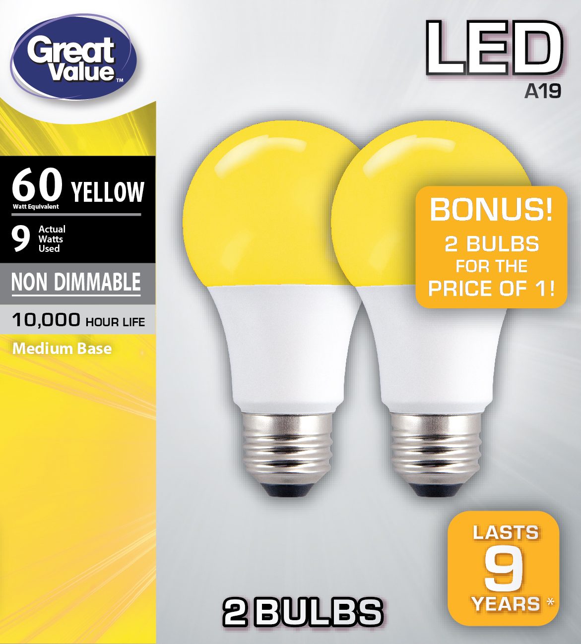 Great Value LED A19 (E26) Light Bulbs, 9W (60W Equivalent), Yellow, 2-Pack