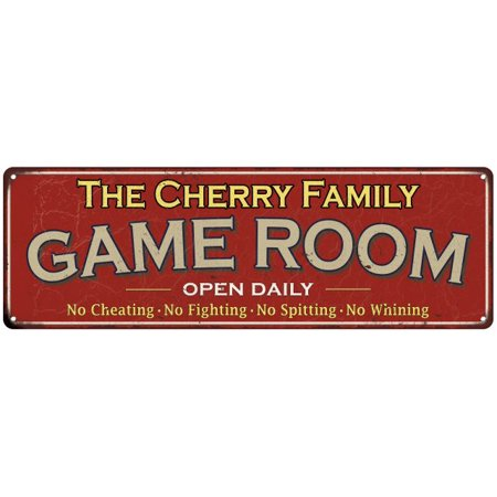 The Cherry Family Game Room Red Vintage Look Metal 8x24 Sign Family Name 8248723