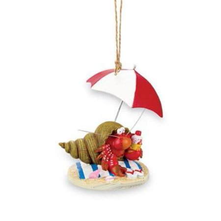 Beachy Hermit Crab Christmas Holiday Ornament, Measures 3 x 2 1/2 x 3 inches By Cape Shore