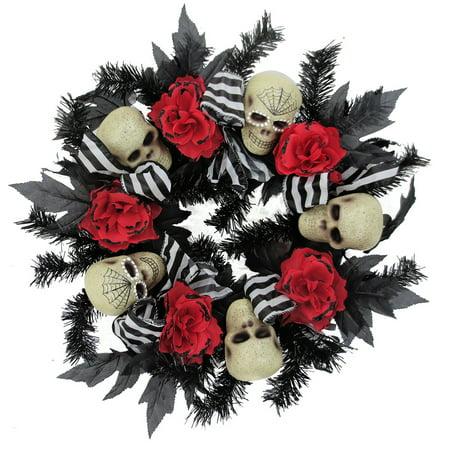 Floral/Skull Mesh Halloween - Halloween Mesh Wreaths