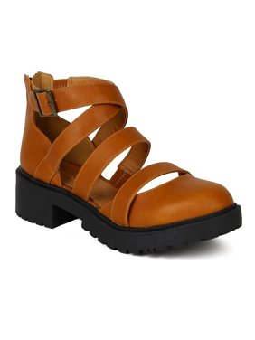 eb7957a7720 Product Image Qupid BC30 Women Leatherette Strappy Cut Out Round Toe Bootie