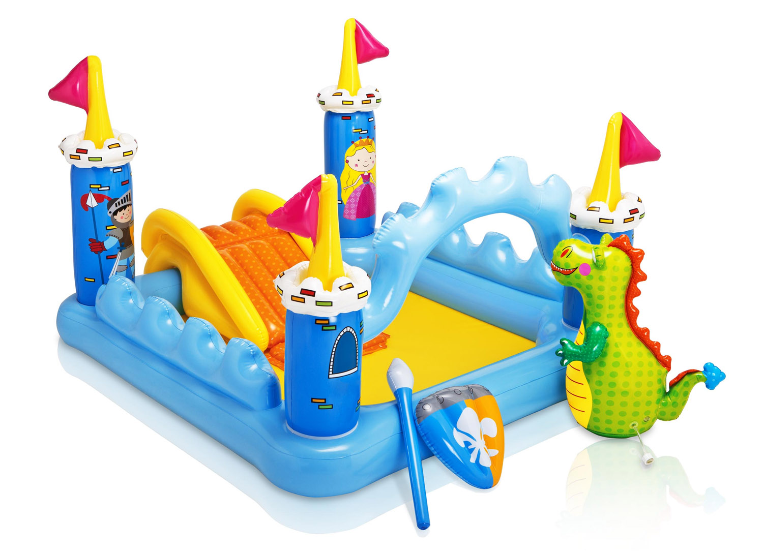 Click here to buy Intex Kids Inflatable Backyard Fantasy Castle Waterslide Play Park Pool Center by Intex.