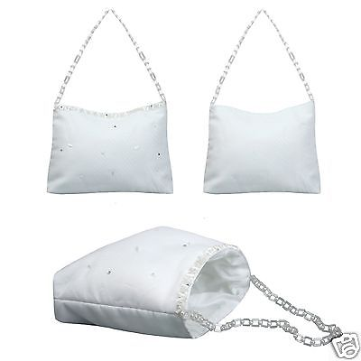 Girls White Purse Handbag Pearls for 1st Communion Bridal Wedding Flower Girl