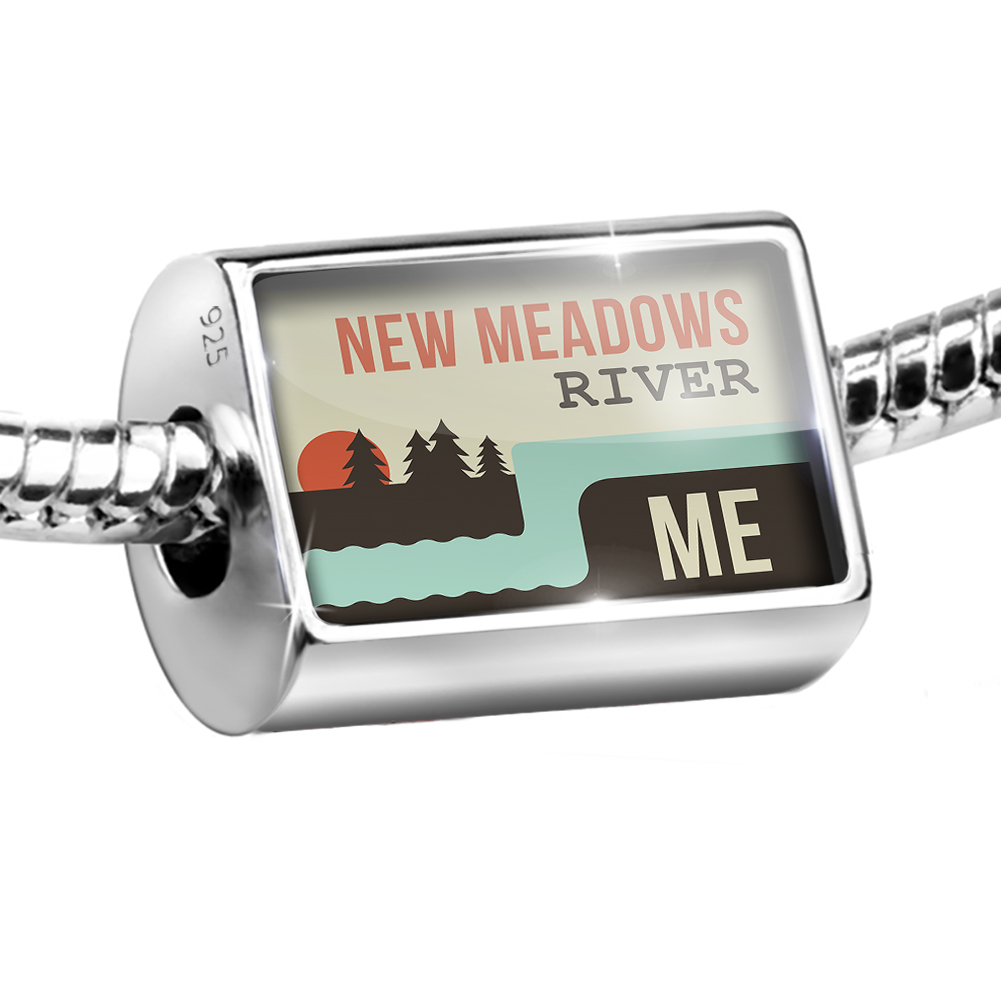 Sterling Silver Bead USA Rivers New Meadows River - Maine Charm Fits All European Bracelets