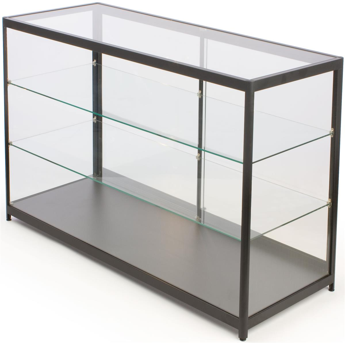 Displays2go Free-Standing Glass Display Case, Framed In B...