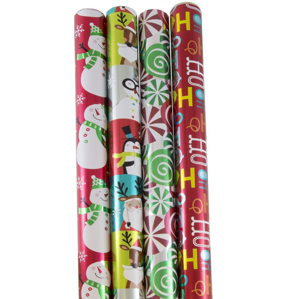 JAM Paper® Wrapping Paper, Premium Foil Gift Wrap, 100 Sq Ft, Red HoHoHo Santa Set, 4/Pack