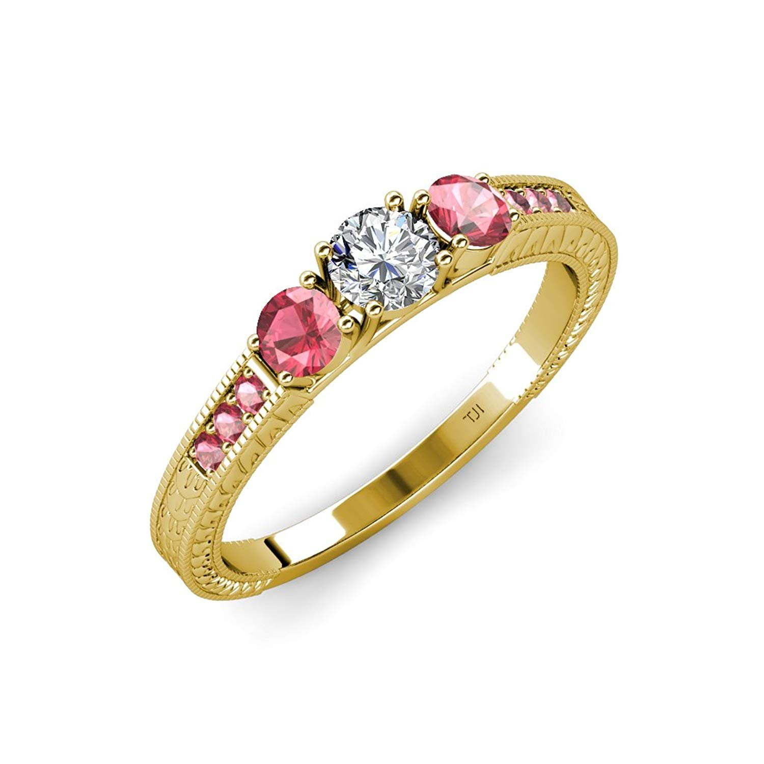 Diamond and Pink Tourmaline 3 Stone Ring with Side Pink Tourmaline 0.83 ct tw in 14K Yellow Gold.size 6.5 by TriJewels