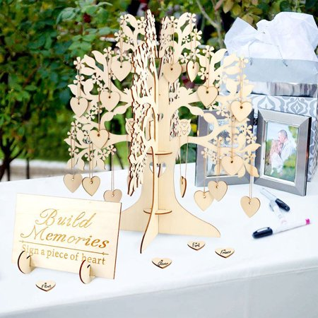 Wooden 3D Wedding Wishing Tree Set Party GuestSign Book Attendance Cards - Wedding Wish Tree