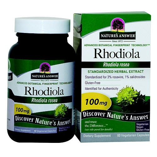 Nature's Answer Rhodiola Standardized Herbal Extract 60 Vegetarian/Vegan Capsules