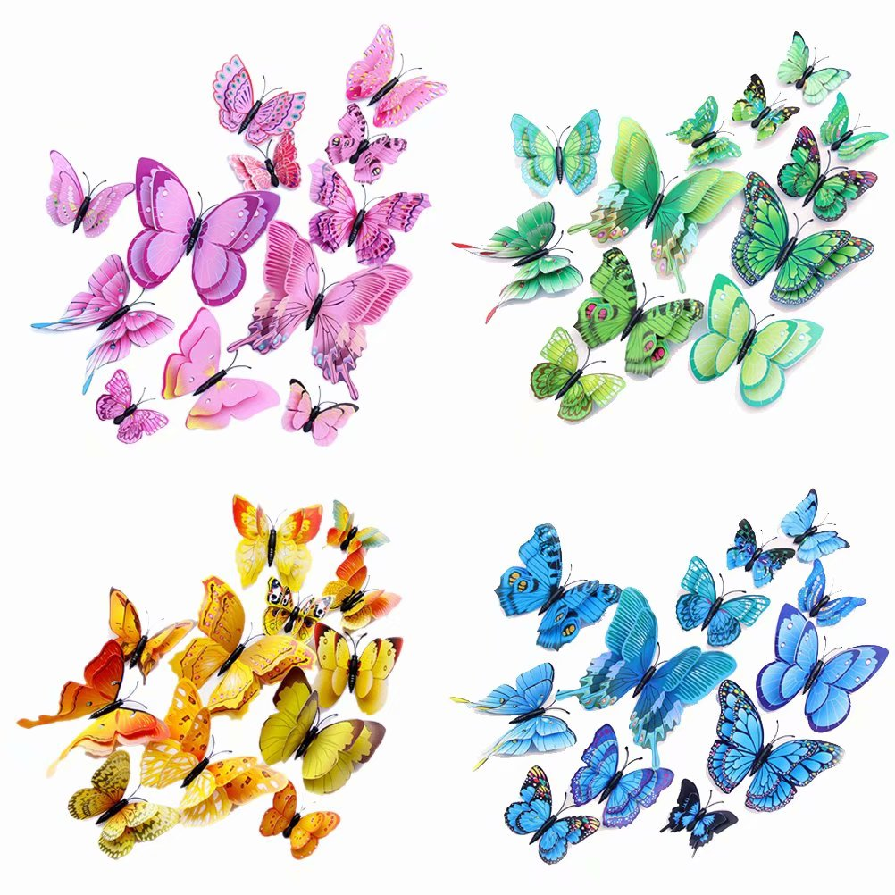 Akoyovwerve Creative 3D Butterfly Wall Decals Stickers, Butterfly Art DIY Wall Stickers for Home Office Decoration, Pink