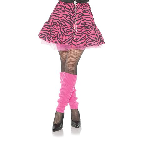 80's Zebra Skirt Pink & Black Adult Costume Skirt Medium - 80's Rockstar Halloween Costumes