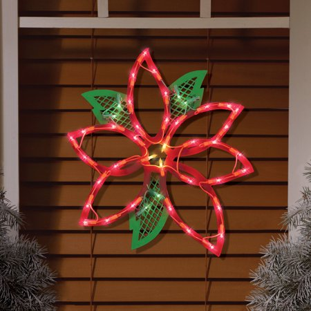 Lighted Poinsettia Window Decoration](Office Window Decorations)