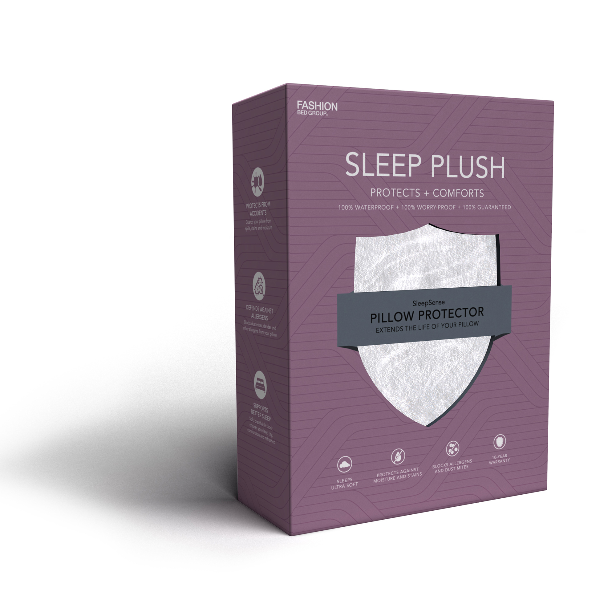 Sleep Plush Pillow Protector with Ultra-Soft and Waterproof Fabric, Standard   Queen by Fashion Bed Group