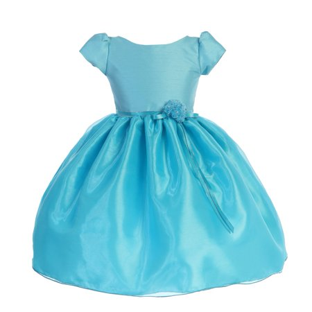 Little Girls Turquoise Dupioni Organza Floral Bow Flower Girl (Dupioni Bow)