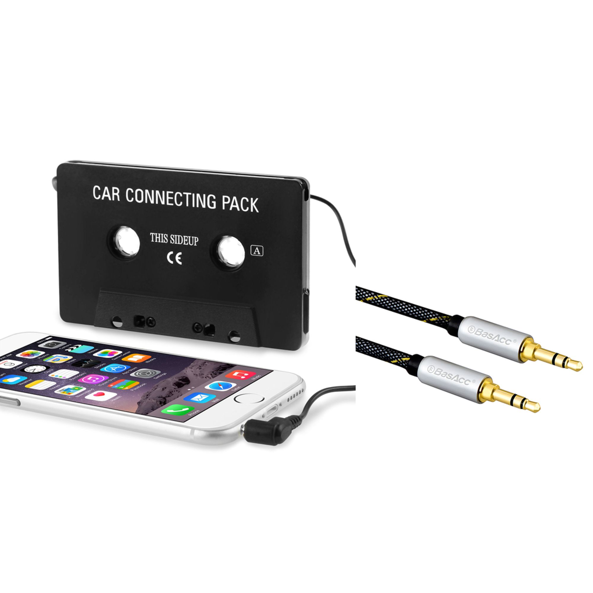 Insten Universal Car Audio 3.5mm Cassette Adapter - Black (Bundle with 3.5mm Aux Auxiliary Audio Stereo Extension M/M Cable)