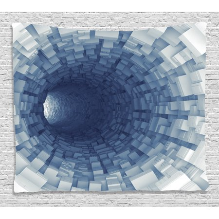 Outer Space Decor Tapestry, Endless Tunnel with Fractal Square Shaped Segment Digital Dimension Artwork, Wall Hanging for Bedroom Living Room Dorm Decor, 60W X 40L Inches, Gray, by (Square Wall Hanging)