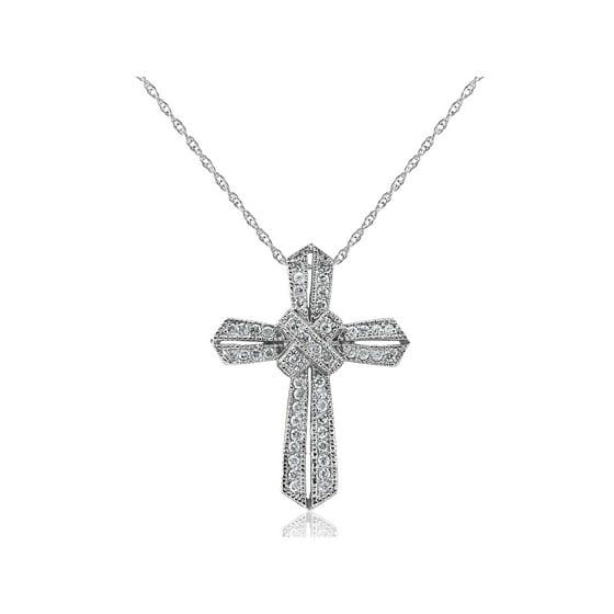 Pompeii3 1 2 Ct Vintage Real Diamond Cross Pendant 14k
