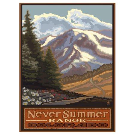 "Never Summer Range Colorado Springtime Mountains Travel Art Print Poster by Paul A. Lanquist (9"" x 12"")"