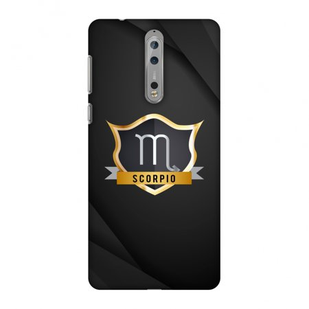 Scorpio Connector Kit (Nokia 8 Case, Premium Handcrafted Designer Hard Shell Snap On Case Printed Back Cover with Screen Cleaning Kit for Nokia 8, Slim, Protective - Black)