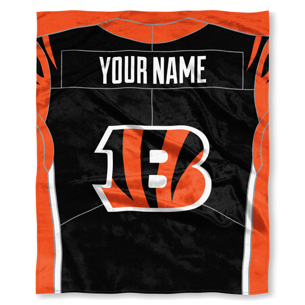 "NFL Cincinnati Bengals ""Jersey"" Personalized Silk Touch Throw Blanket"