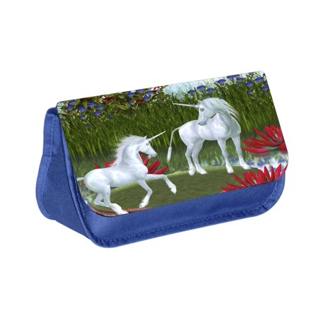 Unicorns - Blue Medium Sized Makeup Bag with 2 Zippered Pockets and Velcro Closure - Unicorn Halloween Costume Makeup