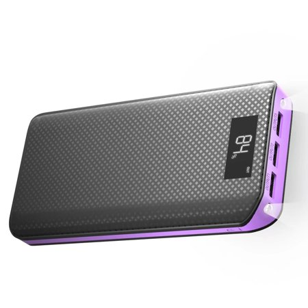 Power Bank 300000Mah  X Dragon External Battery Pack Power Bank Portable Charger With Led Digital Display  2A Input  Total 5A Output For Ipad  Iphone  Cellphones  Tablets   Purple