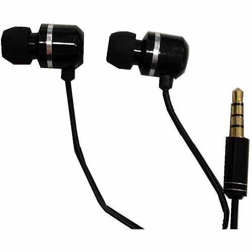 ProHT Lightweight Metallic Earbuds with Microphone and Noise Isolation, Black