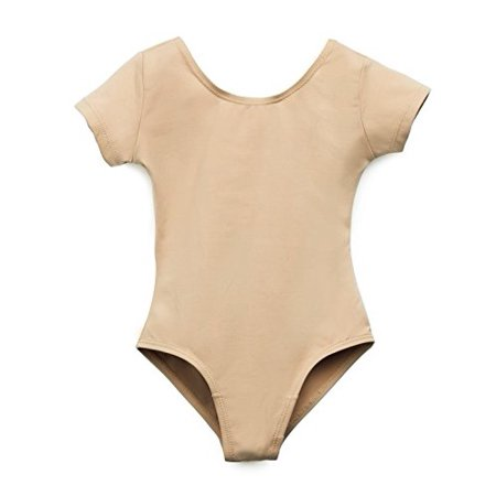 (Elowel Girls' Team Basics Short Sleeve Leotard Nude (size 4-6 ))