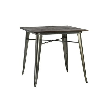 DHP Fusion Dining Table, Square, Antique Gun Metal/Wood