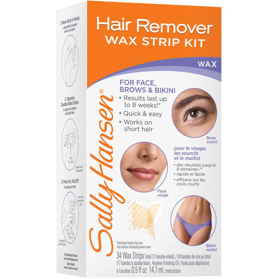 Sally Hansen Wax Strips Hair Remover Kit For Face, Brows & Bikini, 1ct