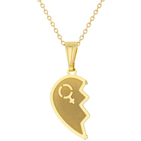 9c2957ee39 18k Gold Plated Split Heart Necklace for Couples Pendant Love 19