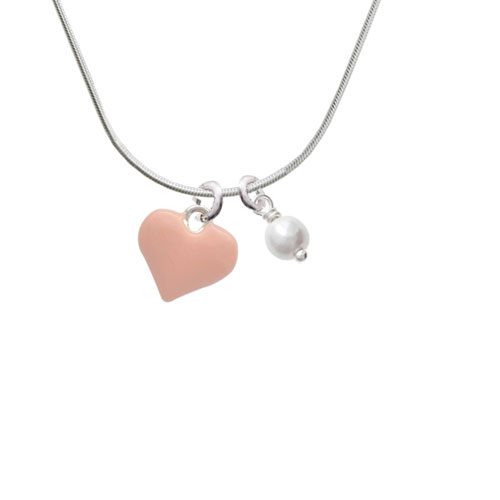 3-D Pink Puffy Heart - Imitation Pearl Bicone Crystal Necklace