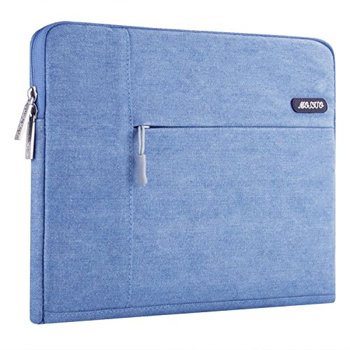 Mosiso Denim Fabric Laptop Sleeve Case Bag Cover for 15-15.6 Inch MacBook Pro, Notebook Computer, Blue