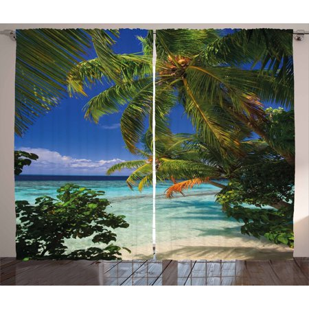 Plant Curtains 2 Panels Set, Tropical Paradise at Maldives with Palms Blue Sky Beautiful Beaches Tranquility, Window Drapes for Living Room Bedroom, 108W X 84L Inches, Sky Blue Green, by