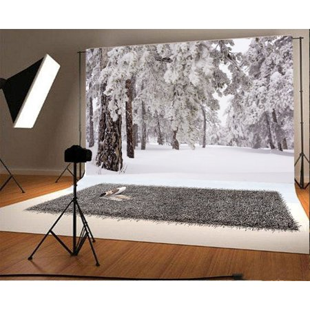 MOHome Polyster 7x5ft Snow Backdrop Christmas Forest Trees Heavy Snow Outdoor Winter Scene Happy New Year Photography Background Kids Adults Photo Studio - Snow Scene Backdrop