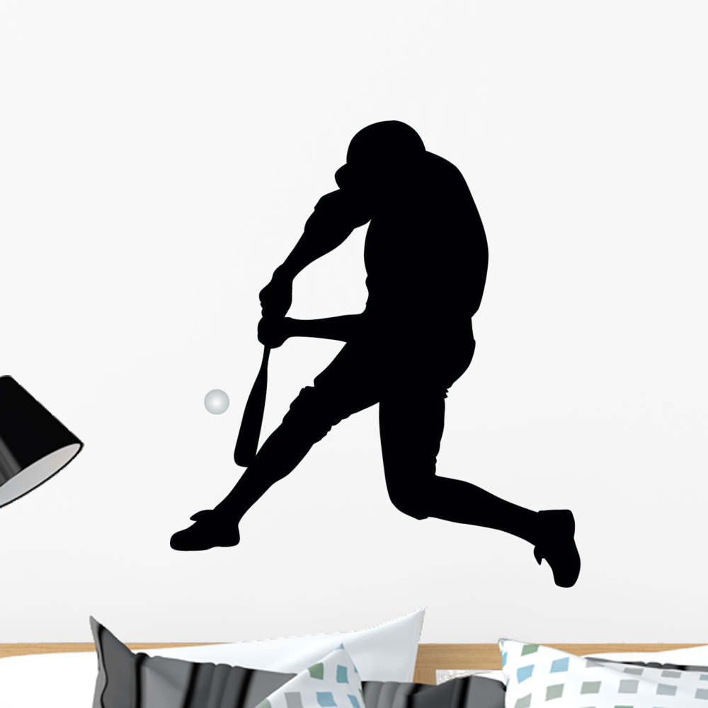 Baseball Silhouette Wall Decal By Wallmonkeys Peel And