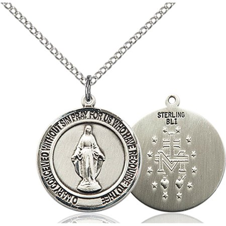 Sterling Silver Miraculous Pendant 3 4 X 5 8 Inches With 18 Inch Sterling Silver Curb Chain