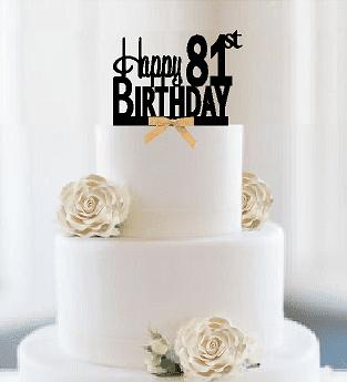 Item#081CTGR - Happy 81st Birthday Elegant Cake Decoration Topper with Gold Bow