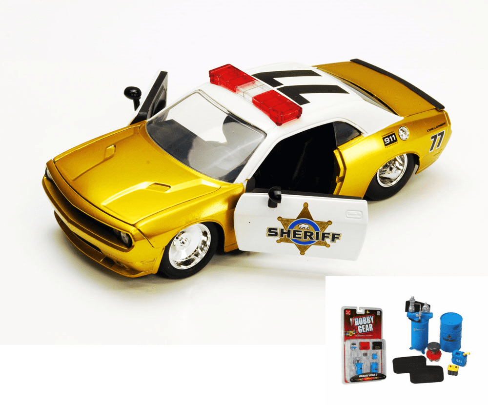 Diecast Car & Garage Diorama Package Dodge Challenger SRT8 Sheriff Car #77, Gold Jada Toys... by ModelToyCars