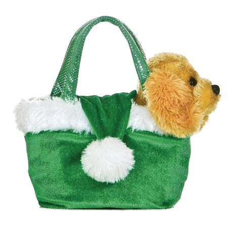Plush Holiday Dog Santa Green Hat Fancy Pal Pet Carrier., Golden retriever comes out of bag By