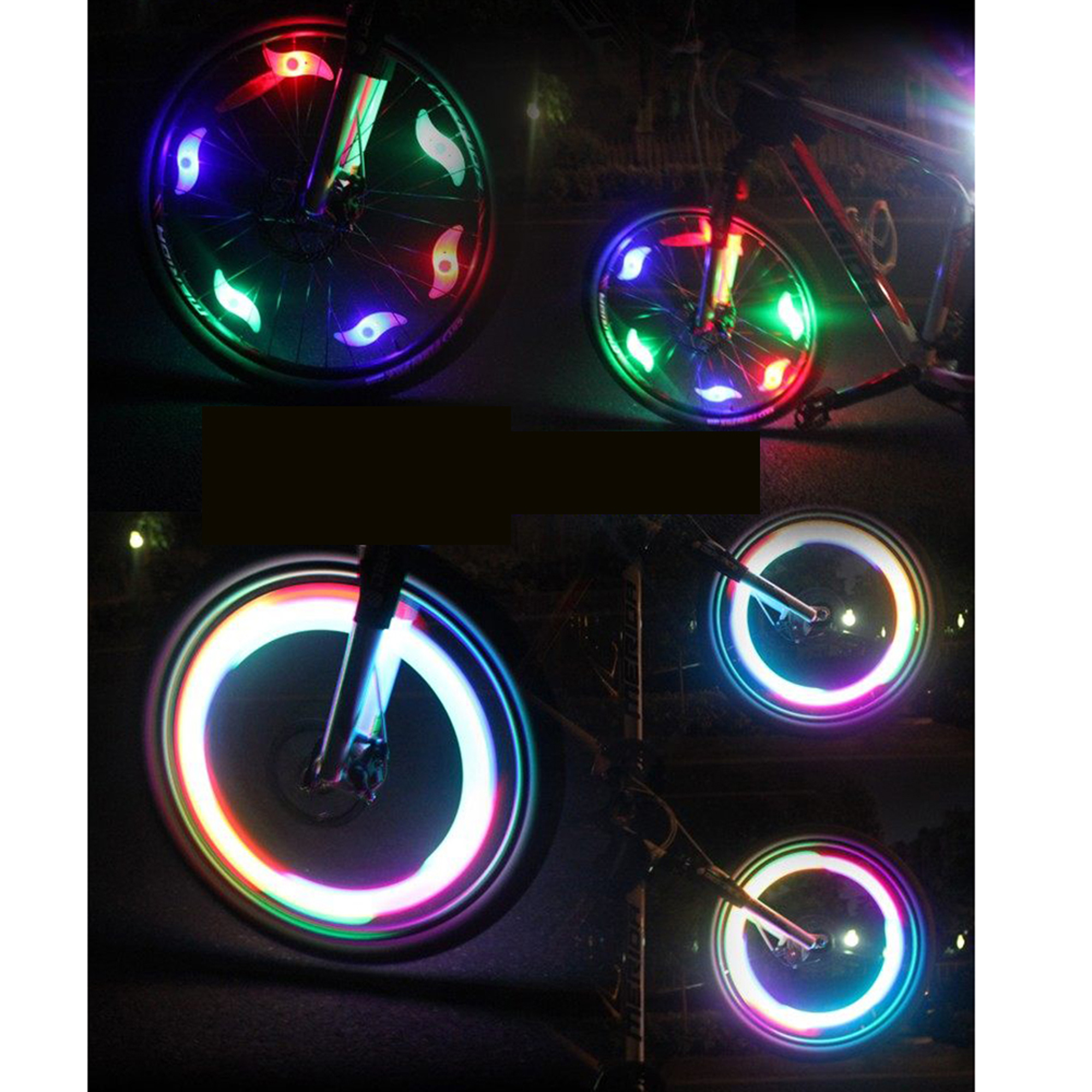 AGPtek Multi-color 6pcs Flexible Waterproof Silicone Bike Light Bicycle Cycling Spoke Wire Tire Tyre Silicone LED Wheel