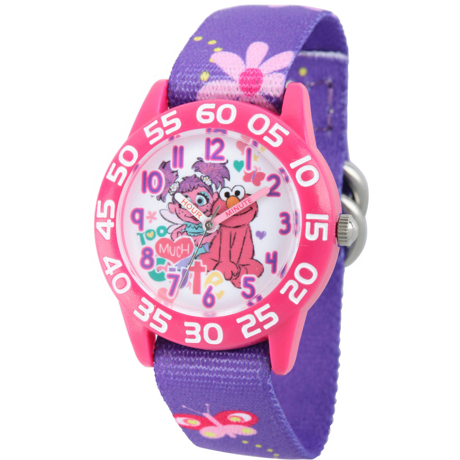 Sesame Street Girls' Pink Plastic Time Teacher Watch, Purple Stretchy Nylon Strap