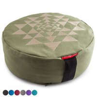 "Peace Yoga Zafu Meditation Yoga Buckwheat Filled Cotton Bolster Pillow Cushion with Premium Designs - Elephant Burgundy 13"" x 13"" Inch"
