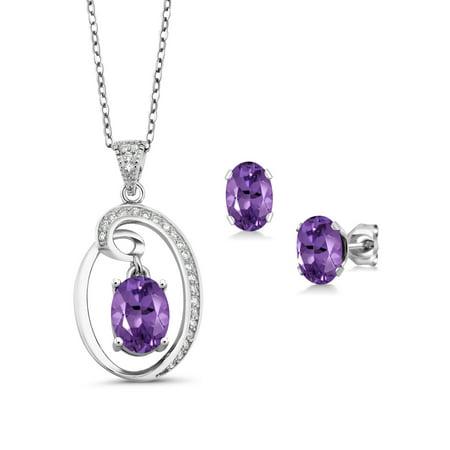 2.97 Ct Oval Purple Amethyst Sterling Silver Pendant Earrings Set
