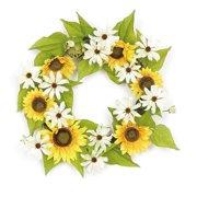 Northlight Seasonal 22'' Sunflower and Daisy Artificial Floral Wreath