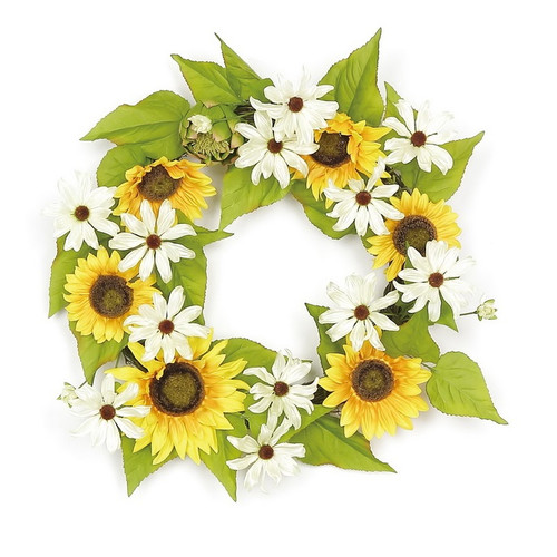 Northlight Seasonal 22'' Sunflower and Daisy Artificial Floral Wreath